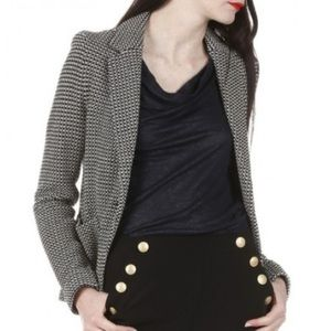 Gerard Darel Black and White Tweed Blazer